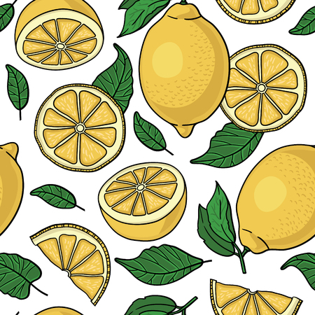 Seamless pattern with yellow lemons - vector illustration Иллюстрация