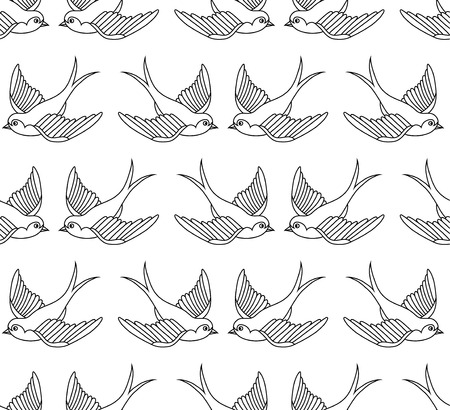 Old school pattern with birds Vector