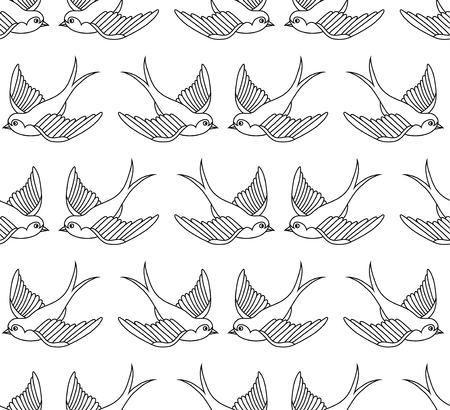 golondrinas: Patrón de la vieja escuela con las aves Vectores