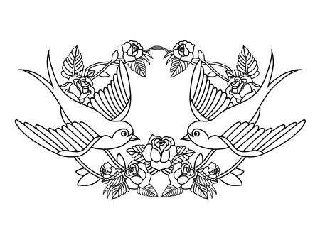 Ancien cadre de l'école avec des roses et des oiseaux Banque d'images - 31646088