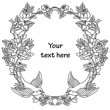 tatouage oiseau: Ancien cadre de l'école avec des roses et des oiseaux