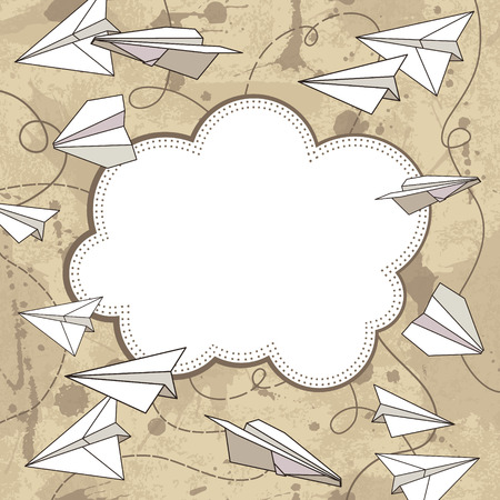 vector frame with paper planes