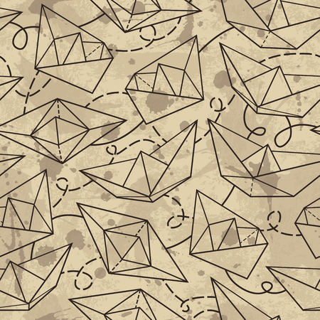 Vector pattern with paper ships. Grunge background with drops and splashes Vector