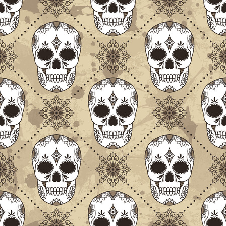 Vector pattern with skulls. Grunge background with drops and splashes