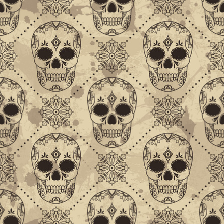 antique art: Vector pattern with skulls. Grunge background with drops and splashes