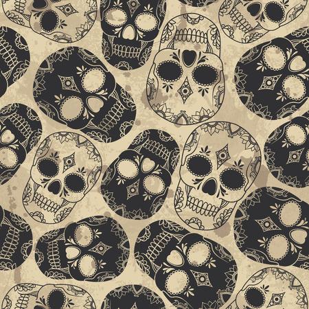 Vector pattern avec des crânes. Grunge fond avec des gouttes et les éclaboussures Banque d'images - 32184659