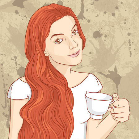 Cute retro girl with cup of coffee or tea Иллюстрация