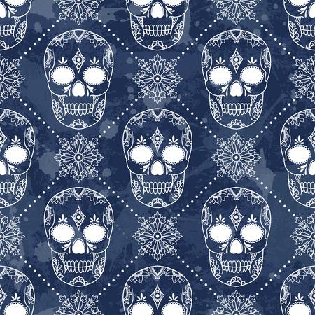 Vector pattern avec des crânes. Grunge fond avec des gouttes et projections Banque d'images - 32184666