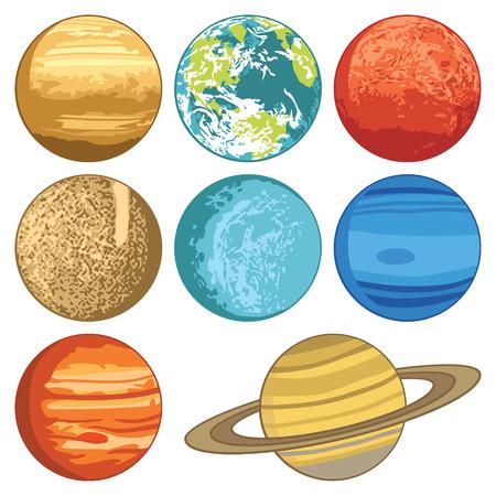 Solar system planets 向量圖像