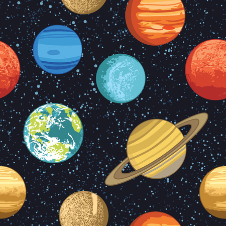 moon surface: Seamless pattern wth solar system planets Illustration