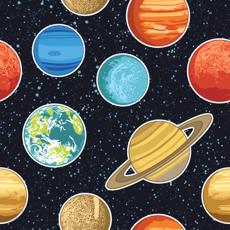 Seamless pattern wth solar system planets Vector