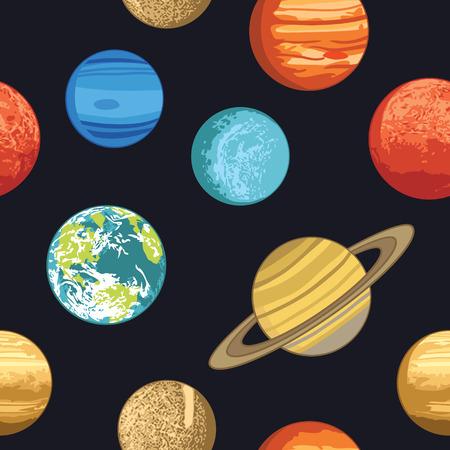 Seamless pattern wth solar system planets Ilustracja