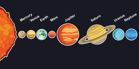 jupiter light: illustration of solar system showing planets around sun Illustration