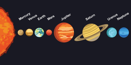illustration of solar system showing planets around sun 일러스트