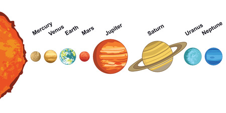 illustration of solar system showing planets around sun Illustration