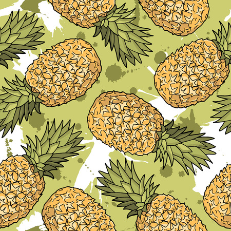 Seamless pattern with pineapples. Graphic stylized drawing. Vector illustration Ilustração