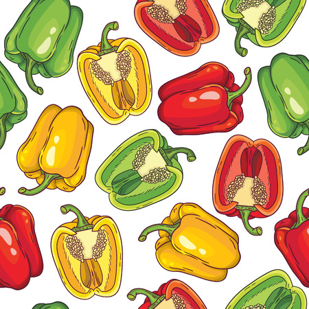 Vector pattern with green, yellow and red peppers Vector
