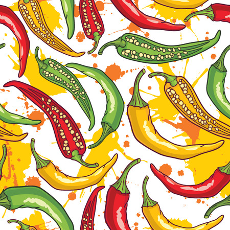 Vector pattern with green, yellow and red peppers Illustration