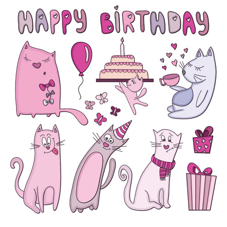 Vector set with cats. Birthday card Vector