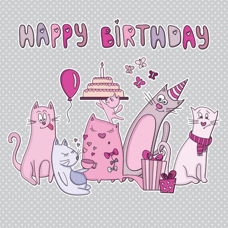 Vector birthday card with funny cats. Vector