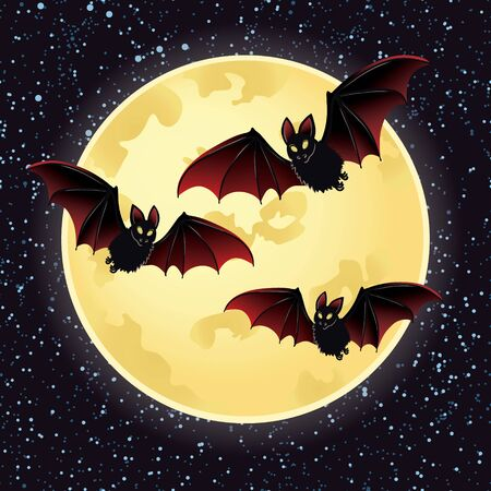 early in the evening: llustrations of Halloween night with bats flying over moon