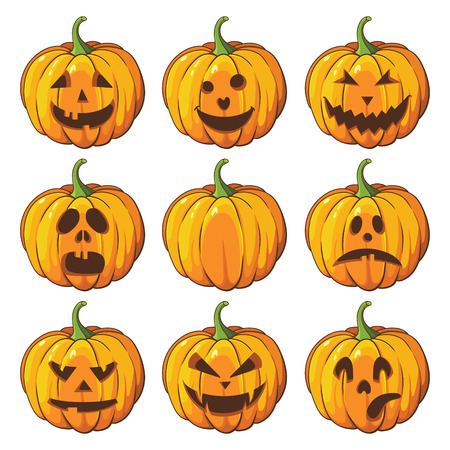 halloween symbol: Halloween set with pumpkins