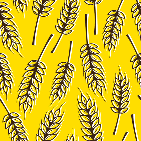 harvesting rice: Seamless pattern with ears of wheat Illustration