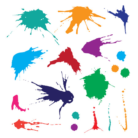 Verzameling van verf splash. Vector set van penseelstreken. Geïsoleerd op witte achtergrond Vector Illustratie