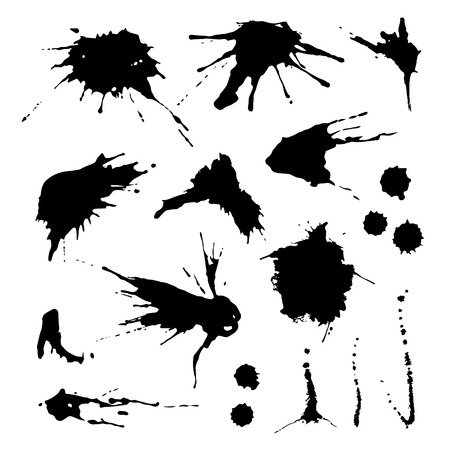 Collection of paint splash. Vector set of brush strokes. Isolated on white background