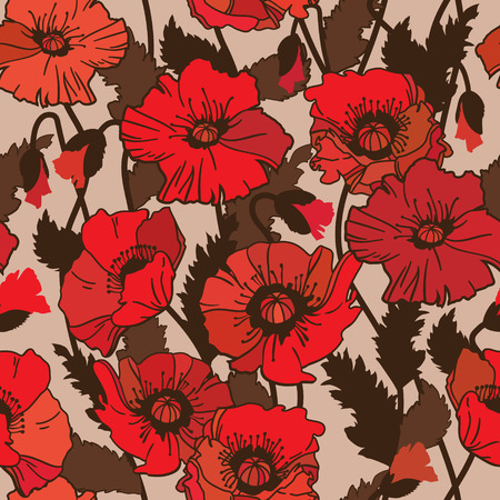 papaver: Papaver rhoeas also known as corn poppy, corn rose, field poppy, Flanders poppy drawing. seamless pattern