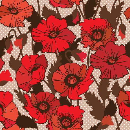 papaver: Papaver rhoeas also known as corn poppy, corn rose, field poppy, Flanders poppy drawing. seamless pattern
