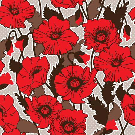 corn poppy: Papaver rhoeas also known as corn poppy, corn rose, field poppy, Flanders poppy drawing. seamless pattern