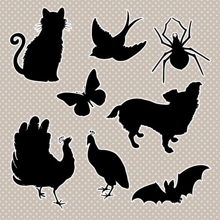peacock butterfly: Vector set silhouettes : cat, bird, spider, butterfly, dog, peacock, bat