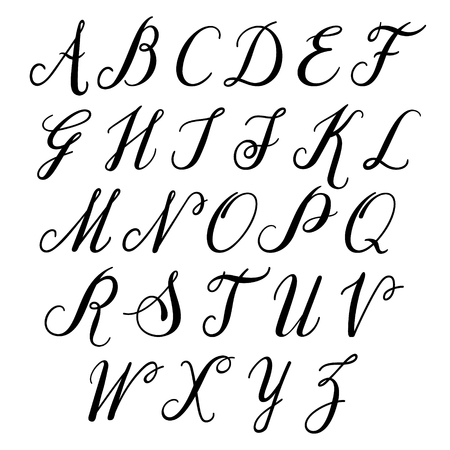 Alfabeto lettere maiuscole:. Vector alfabeto. Mano lettere disegnato. Lettere dell'alfabeto scritte con un pennello