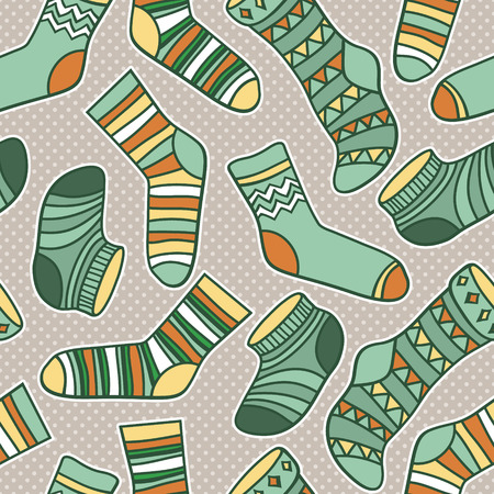 Vector seamless abstract pattern with socks Ilustração
