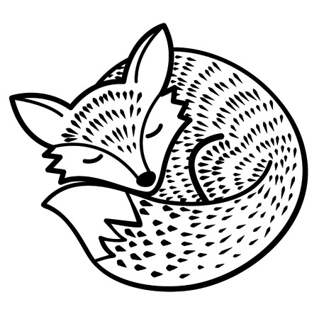 vector isolated fox. black and white