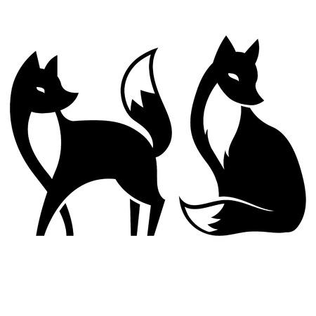 geïsoleerde vector vos. zwart en wit