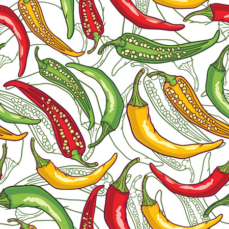 cayenne: Vector pattern with green, yellow and red peppers Illustration
