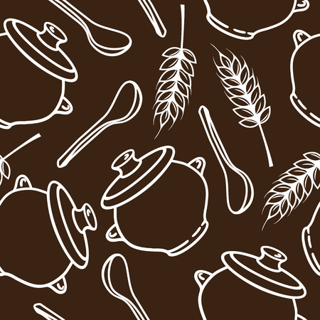 harvesting rice: Vector seamless pattern with spikes, pots and spoons