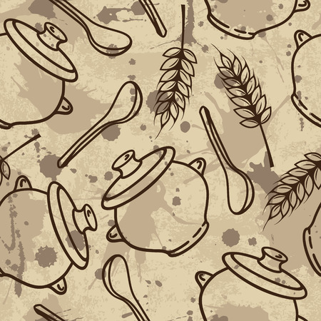spikes: Vector seamless pattern with spikes, pots and spoons