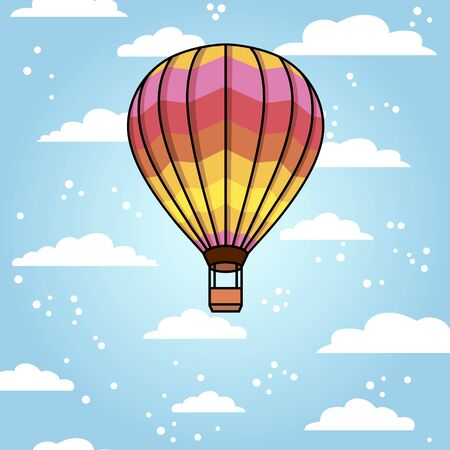 Vector background with air balloon and clouds