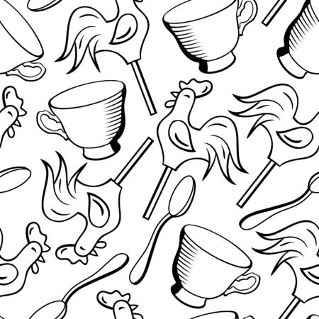 Vector seamless pattern with cups, spoons and candies
