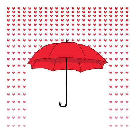 Romantic card with umbrella and rain of hearts. Vector illustration
