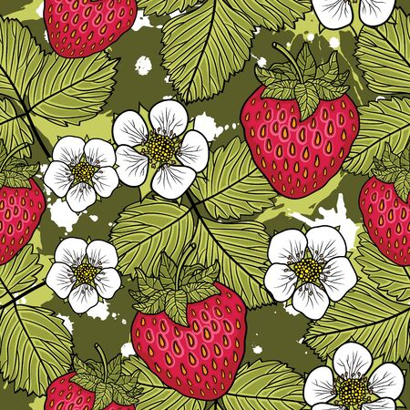 Seamless pattern with strawberries. Graphic stylized drawing. Vector illustration Vettoriali