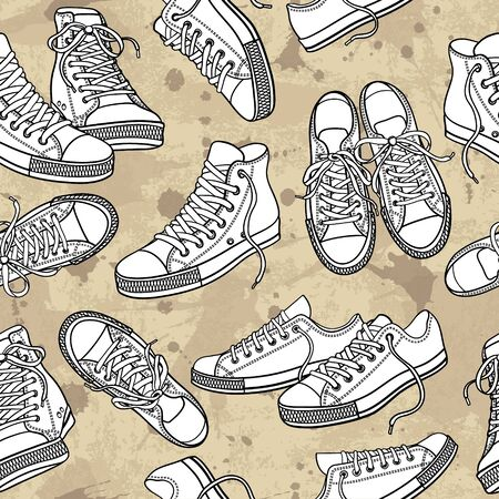 Vector seamless pattern with sneakers