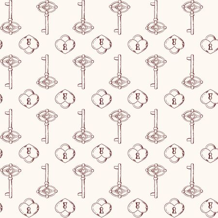 Vector seamless keys pattern. Vintage illustration background Иллюстрация