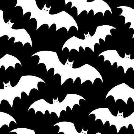 Vector seamless pattern with bats. Halloween illustration. Ilustração