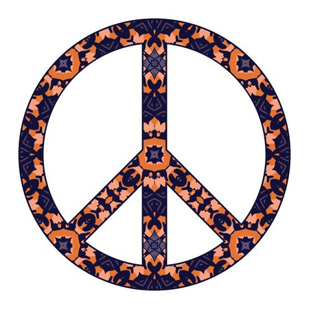 International peace symbol with flowers isolated on white.