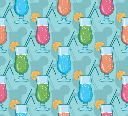 Vector seamless pattern with hand drawn cocktails.