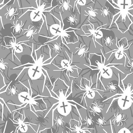 Vector seamless pattern with spiders Ilustração
